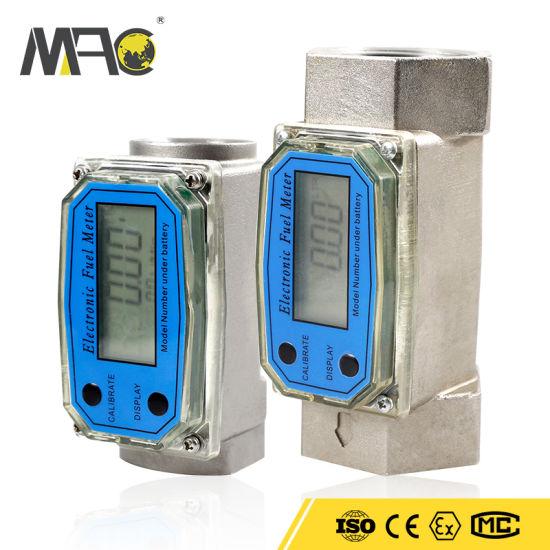 Digital Turbine Flow Meter, 1 Inch Digital LCD Display with NPT Counter Gas Oil Fuel Pump Diesel Fuel Flow Meter for Measure Diesel, Kerosene, Gasoline
