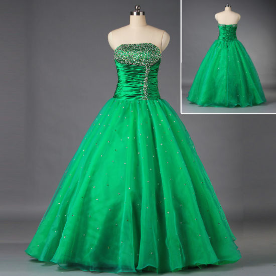 Women's Ball Gown Strapless Bead Organza Green Prom Dresses E063
