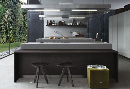 Modern High Pressure Finger Pull Laminate Wood Melamine Kitchen Cabinet