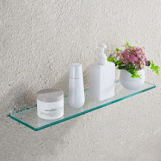 8mm 10mm Bathroom Tempered Glass Wall Mounted Glass Shelf for Home Decor