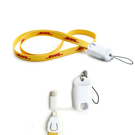 Multi Function Lanyard Charging Cable Lanyard with Keychain 2 in 1 Polyester Lanyard USB Cable pictures & photos