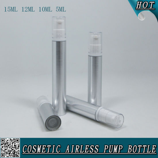 5ml 10ml 12ml 15ml Silver Cosmetic Airless Lotion Plastic Spray Bottle pictures & photos