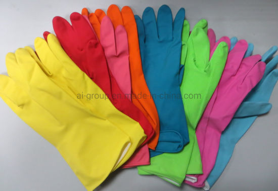 Household Natural Rubber Latex Glove Flocklined for Kitchen Cleaning Dishwashing pictures & photos