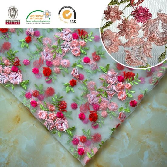 Colorful Flower Embroidery Lace Fabric Skirt/Dress/Full Dress/ Haute Douture 012