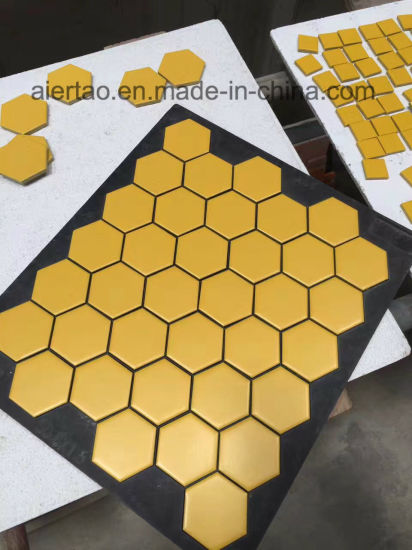 China Gold Yellow Mm Honeycomb Hexagonal Ceramic Mosaic - Honeycomb pool table