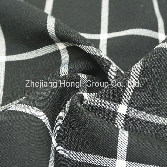 Fabric, T/R, Check, 78%Polyester 18%Rayon 4%Spandex Stretch Plaid Tr Fabric for Garment
