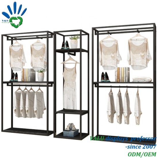 Best Quality Metal Rail Clothes Hanging Display Rack for Store