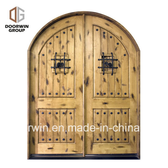 China Church Gate Style Design Exterior Wood Front Doors With Top