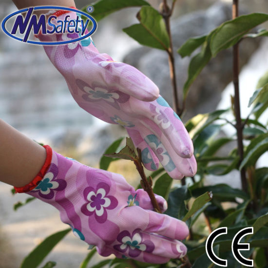 Nmsafety Flower Printed PU Coated Kids Gardening Work Glove