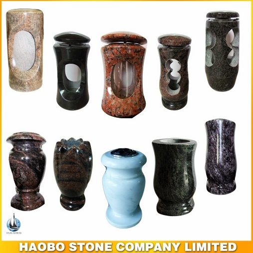Haobo Stoe Granite Vase and Lamp for Cemetery and Tombstone