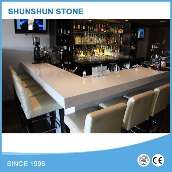 Polished Snow White Quartz Bar Top For Sale