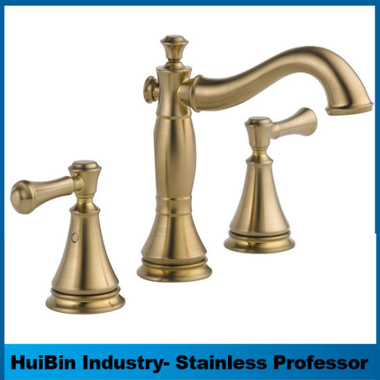 China European Style Classical Champagne Bronze 3-Hole Installation ...