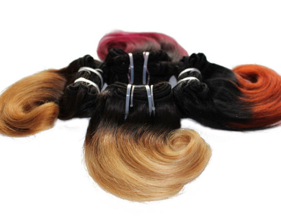 8inchs Short Wavy Weave Two Tone Ombre Human Hair Extensions pictures & photos
