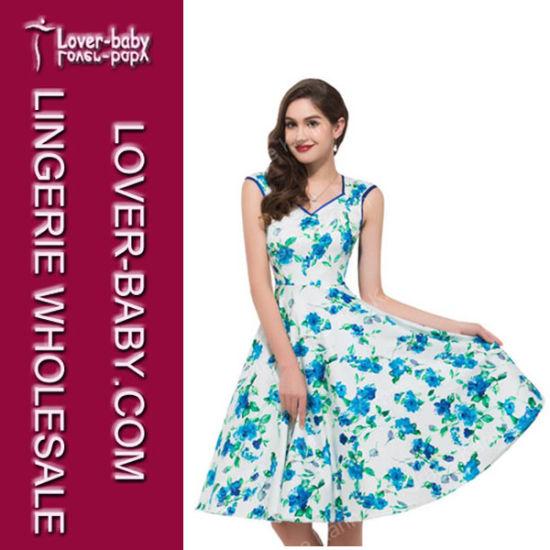Woman Fashion Dresses Flower Skater Dress (L36115-1)