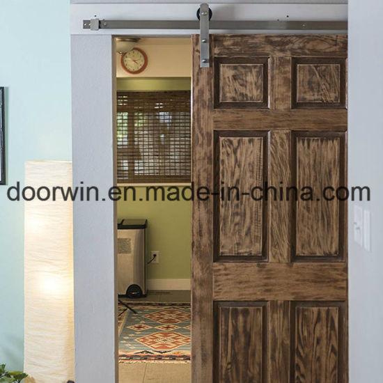 China Usa Rea Oak Solid Sliidng Interior Door With 6 Panel Shaker