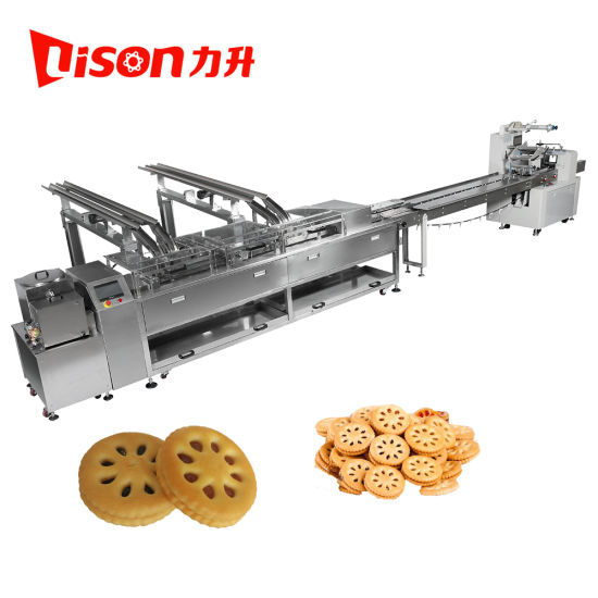 Lison Automatic 2+1 Cream Biscuit Sandwiching Machine with Food Packaging Machine 304 Stainless Steel
