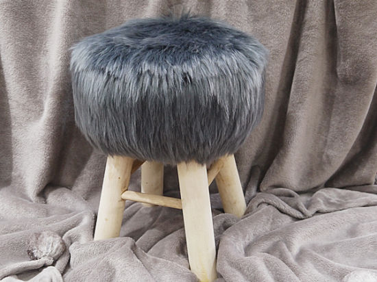 Living Room Furniture Faux Fur Ottoman / Pouf with Wooden Legs Stool (YFO002)