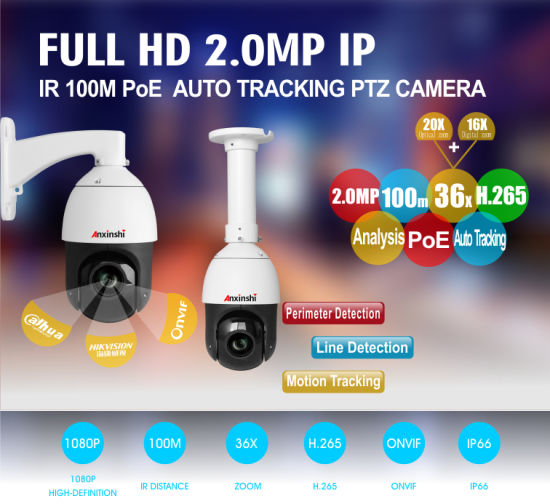 1080P Security H.265 Auto Tracking 2MP POE IP PTZ Camera HD 20X 16X Digital ZOOM