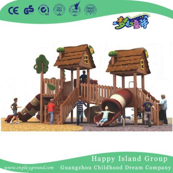 Outdoor Brown Children Wooden Playhouse Playground Equipment (1908102)