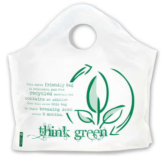 Plastic Take-out Shopping Bag / Biodegradable Curve Top Bags