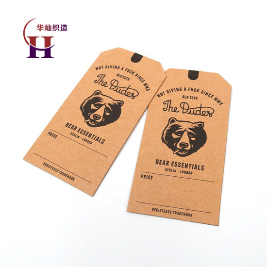 China Label Manufacturer Customized Printed Bear Animal Brand Logo Recycled Kraft Paper Jeans Hang Tags with Eyelets