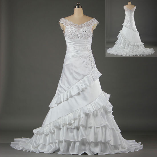 Unique V Neck White Bridal Gowns for Weddings W050