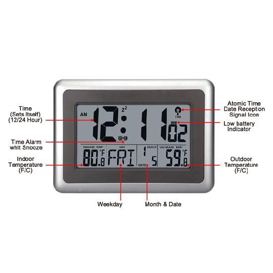 China Sliver Desk Alarm Clock Large LCD Display Digital Wall