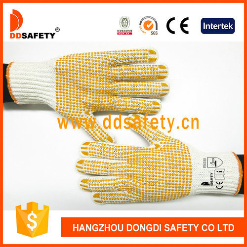 Yellow Safety Working Cotton Gloves