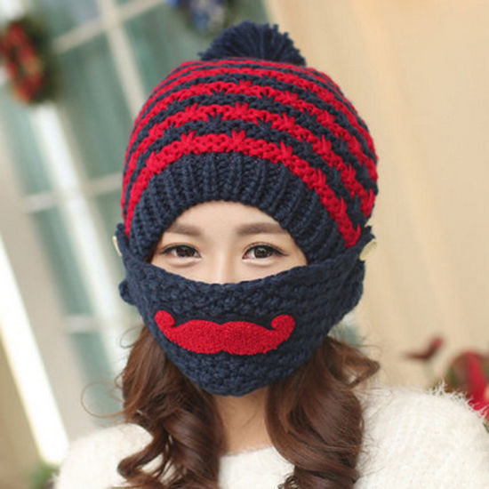 Fashion Mask Beard Handmade Knitting Hand Knitted Crocheted Moustache Hat pictures & photos