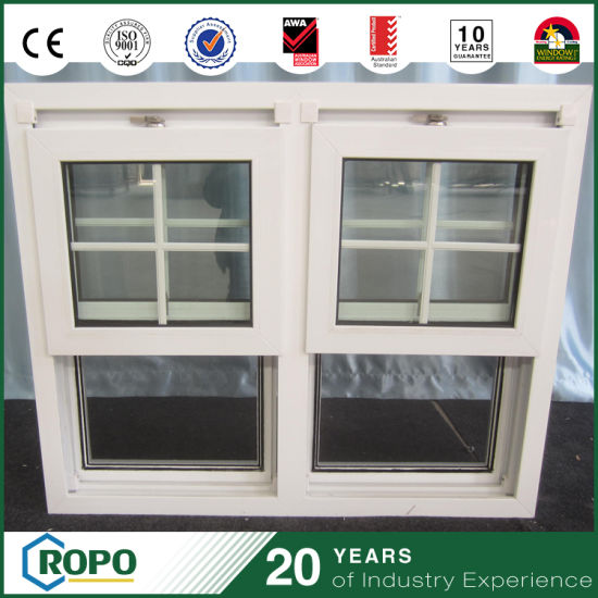 UPVC Two Pane Double Hung Window with Grill Inside Design pictures & photos