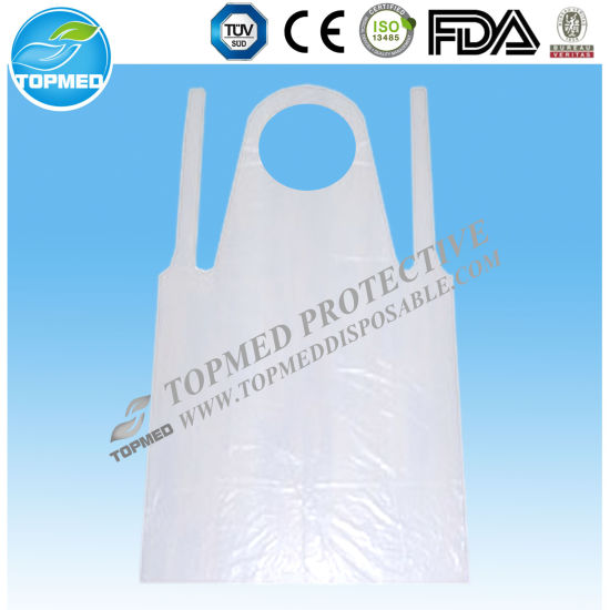 Free Samples! Disposable PE Transparent Apron Plastic Apron with Tie pictures & photos