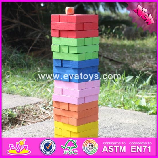 china 2018 wholesale 55 pieces kids wooden jenga puzzle funny