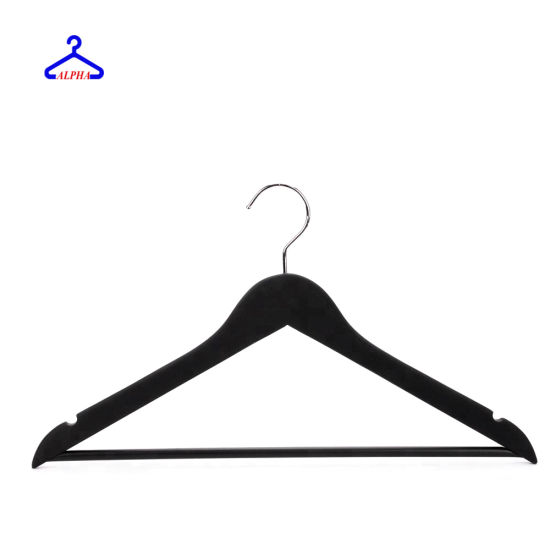 Hotel/Shirt/Wooden/Cloth/Clothes/Clothing/Laundry/Garment/Coat/Wood/Motel/Guestroom/Suit/Adult Hanger with Notches and Plastic Tube Covered Round Bar