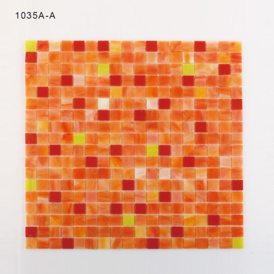 Never Fade Decorative Orange Bathroom Glass Tiles Mosaic pictures & photos