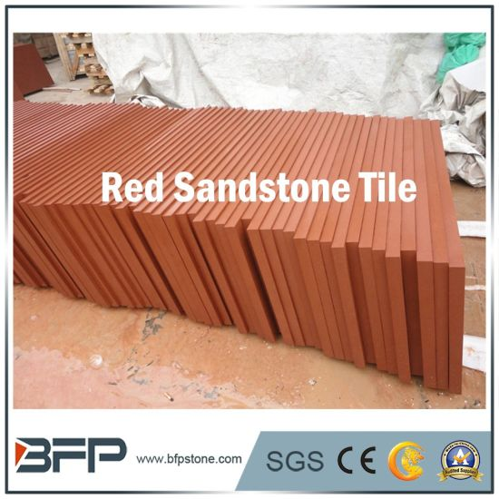 Natural Stone Flooring Red Sandstone Tiles With Polished Honed Surface