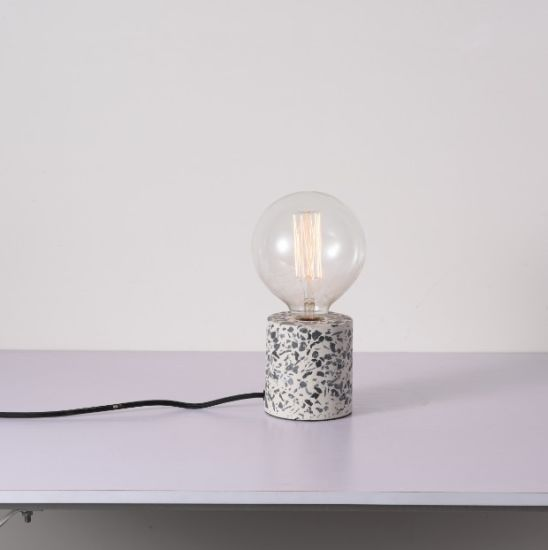 bedside terrazzo table lighting with fabric wire plug cord