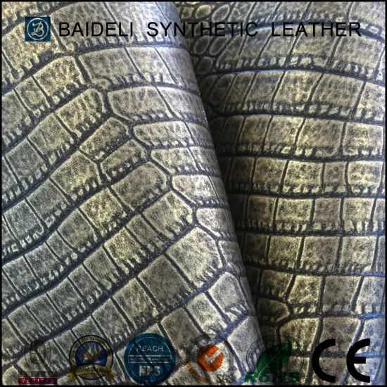China Metallic Crocodile Design Vinyl Fabric For Furniture