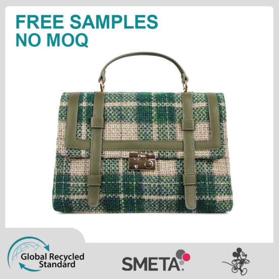 Green Braided High-Capacity Lady's Handbag Cross-Body Bag