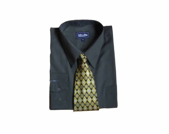 Casual T/C 80/20 Men's Long Sleeve Shirt with Tie