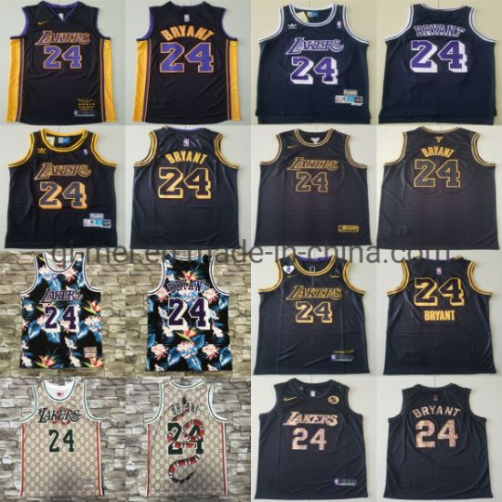 Los Angeles Lakers 24 K-Obe Bryant Newest Flower Edition Basketball Jerseys