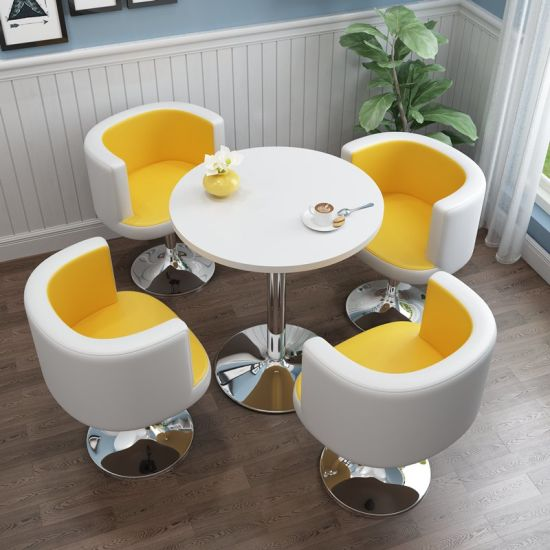 Coffee Tea Shop Lifting Small Round Tempered Glass Table Chair