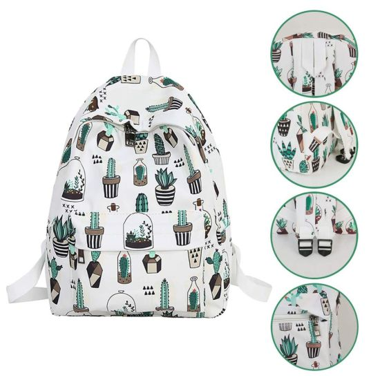 School Backpack Cactus Travel Backpack Laptop Backpack Double-Zipper Closure College School Bookbag for Teen Girl