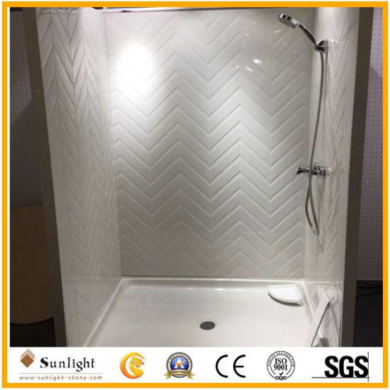 Pure White Cultured Marble Shower Surround for Hotel/Apartment Bathroom