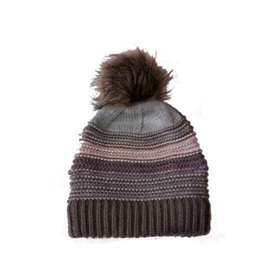 Lady Winter Warm Fashion Stripe Bobble Hat Cap with Faux Fur Pompom