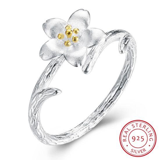 2018 Latest Design 925 Sterling Silver Flower Ring For Wedding Engagement