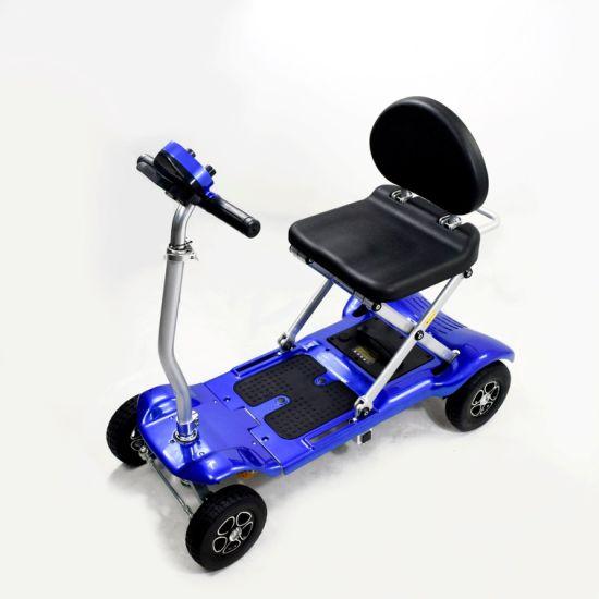 Blue Smart Folding Electric Scooter Elder Mobility Safe Low Speed