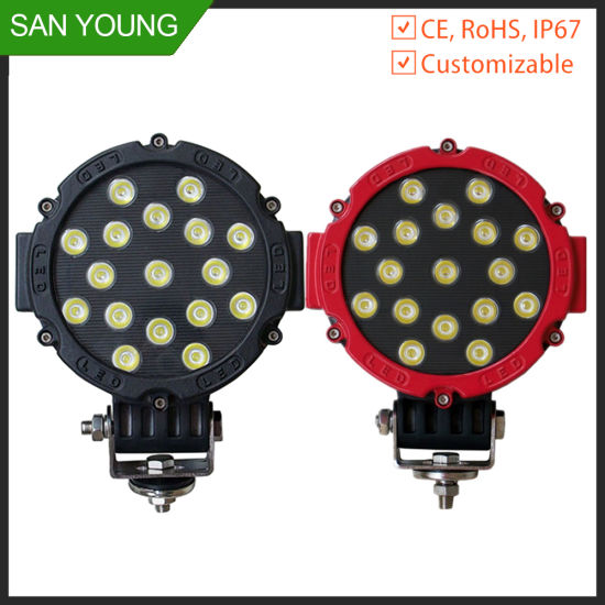 Auto LED Work Light 51W Round for Car Fog Machine Boat Lights Fishing Working