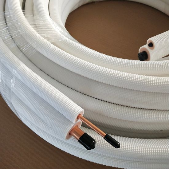 PE Foaming Fire Retardant Coating HVAC Insulated Copper Tube with Nuts