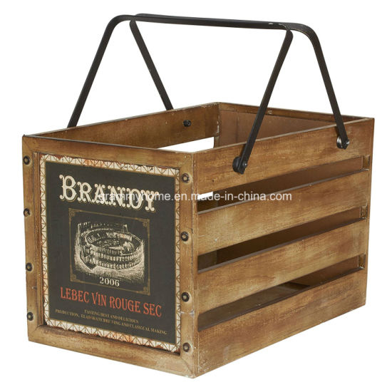 Household Essentials Large Decorative Wood Crate For Storage With Handles