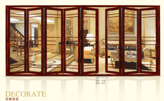 China Excellent Weather Stripping Glass Interior Folding Doors